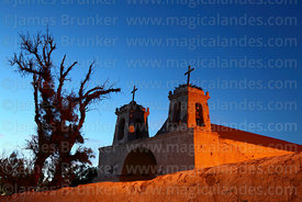 San Francisco church at twilight, Chiu Chiu, Region II, Chile
