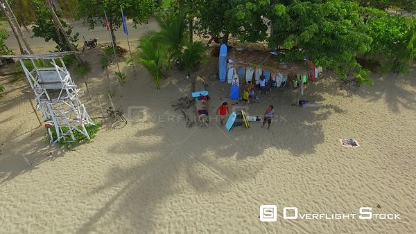 Beach Surf Shop at Playa Cocles Caribbean Sea Costa Rica Drone Video