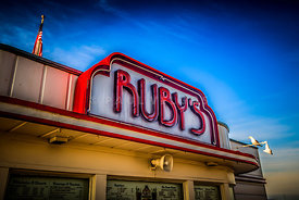 Ruby's Diner Sign on Balboa Pier in Newport Beach