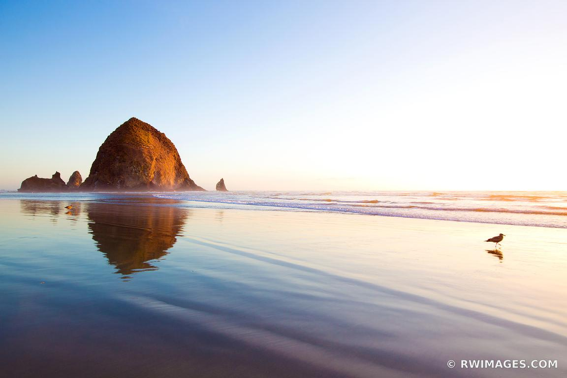 HAYSTACK ROCK SUNSET CANNON BEACH OREGON COAST COLOR