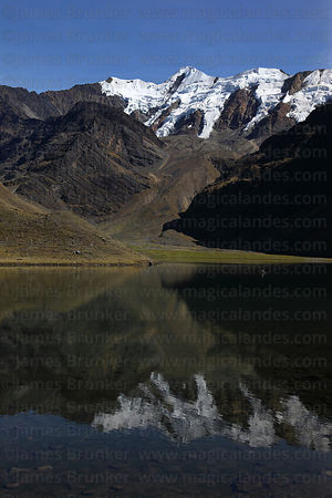 Snowy peaks reflected in Lake Chechoja, Cordillera Apolobamba , Bolivia