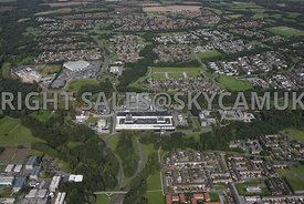Skelmersdale aerial photograph of the Concourse Shopping centre and offices and the West Lancashire college and Asda supermarket