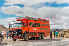 Tour bus neat Bou Azer in Morocco.