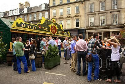 People Socialising in the Spiegelterrace bar during the Edinburgh Fringe Festival
