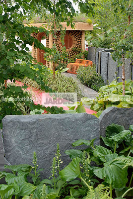 Contemporary garden, Garden shed, Shadow garden, Stone, Low wall stone, Digital, Scenery