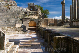 The stage and orchestra pit of the Theatre at Dougga; Tunisia; Landscape