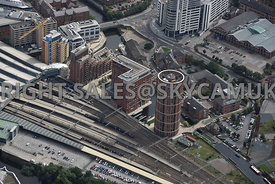 Leeds aerial photograph of Candle House and the Double Tree Hilton Hotel Wharf Approach Canal Wharf and Water Lane