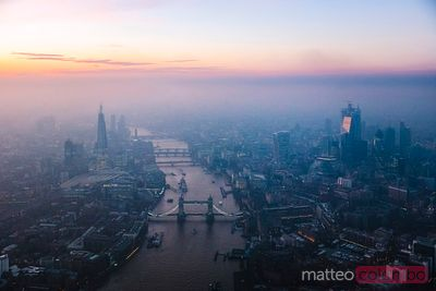 Aerial view of London skyline at dusk, United Kingdom