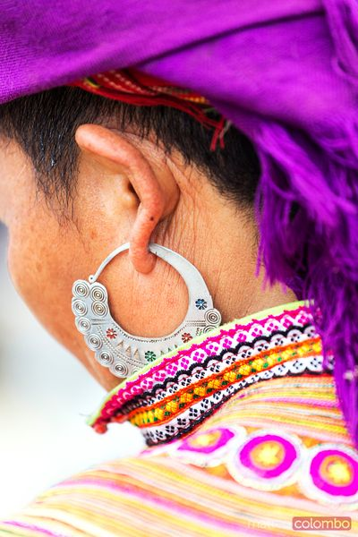 Vietnam, detail of earring of a woman of flower Hmong tribe