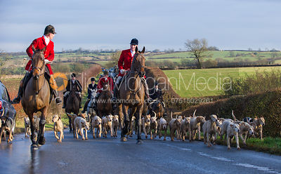 Robert Medcalf and Andrew Osborne lead the field - Cottesmore Hunt at Deane Bank Farm 4/12/12