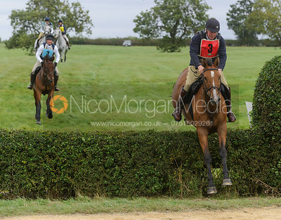 Jumping the last hedge - Belvoir Team Chase 2013, Garthorpe.