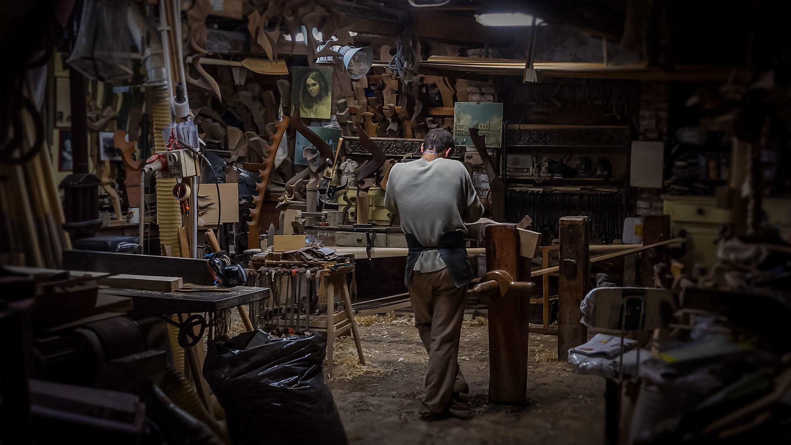Gondola Builder in workshop, Venice