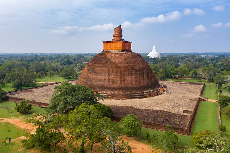 Elevated View of Jethawanaramaya and Ruwanweli Maha Seya Stupas