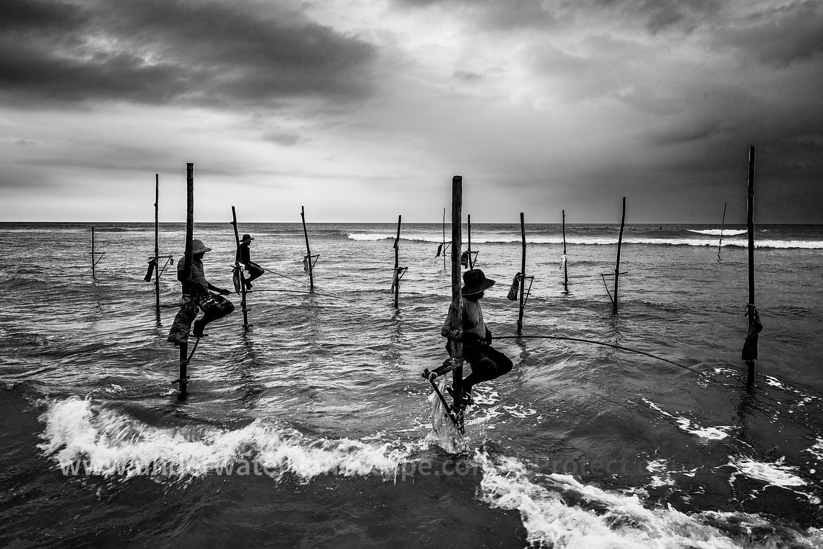 Fisherman in sri lanka in black and white