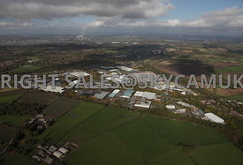Runcorn high level aerial photograph of Whitehouse Industrial Estate showing the M56 motorway running towards the east and Fi...