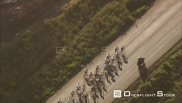Aerial of cyclists during a race. KwaZulu Natal South Africa