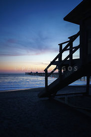 San Clemente Lifeguard Tower One and Pier Sunset Picture