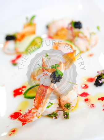 Scottish langoustine, market fresh fruit, vegetables, blood orange essence
