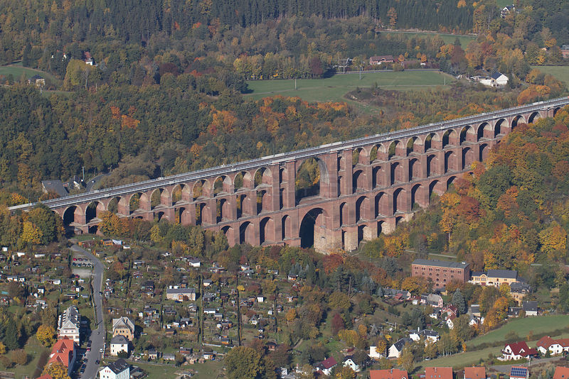Goltzsch Viaduct, the largest brick bridge in the world, seen from the air. Northern Vogtland, Thuringia, Germany, October 2012.