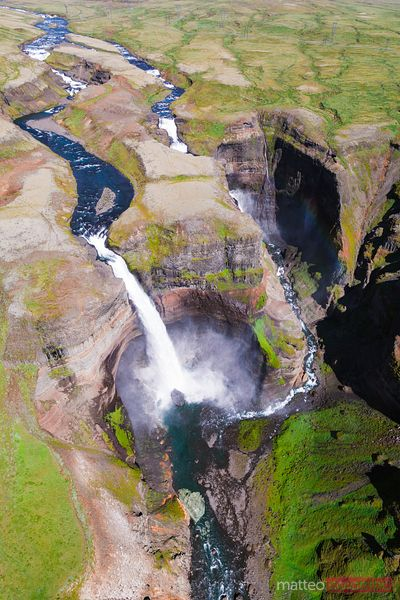Aerial drone view of double Haifoss waterfall in summer, Iceland