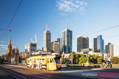 Typical tram and city, Melbourne, Australia