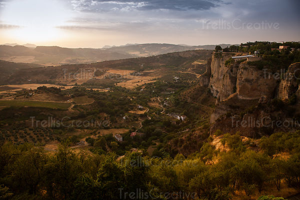 Scenics view of fields during sunrise at Ronda, Spain