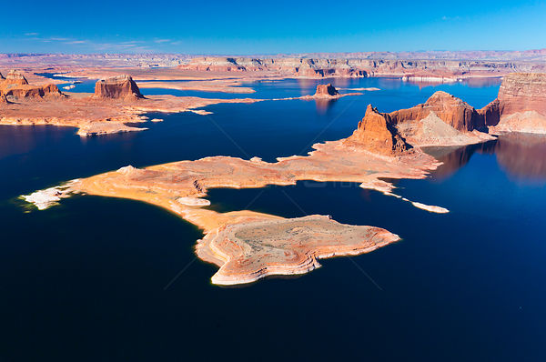 Aerial view of Lake Powell, near Page, Arizona and the Utah border, USA, February 2015. Lake Powell is a reservoir on the Col...