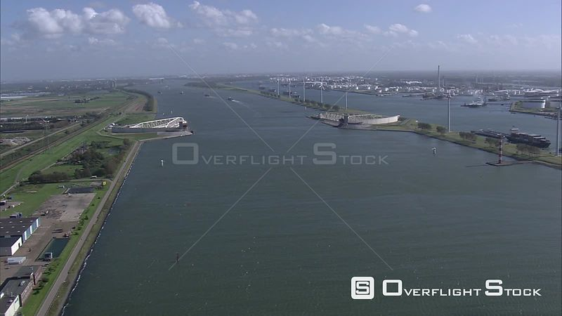 Nieuwe Waterweg (New Waterway) and storm surge barrier Maeslantkering, The Netherlands