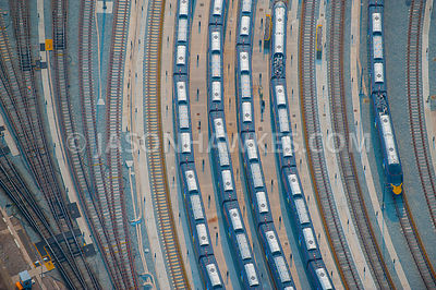 Train tracks and trains, aerial view.
