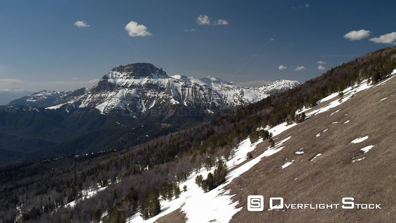 Sphinx mountain overlooks the snowcapped peaks of the Madison mountain Range between Yellowstone National Park and Bozeman, M...
