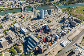 Aerial view of city hall and East Village - Calgary, AB