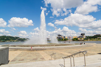 Point Park Fountain and Heinz Field- Pittsburgh, Pennsylvania