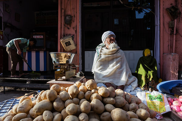 Potato Seller at the Choti Chopad Wholesale Vegetable Market