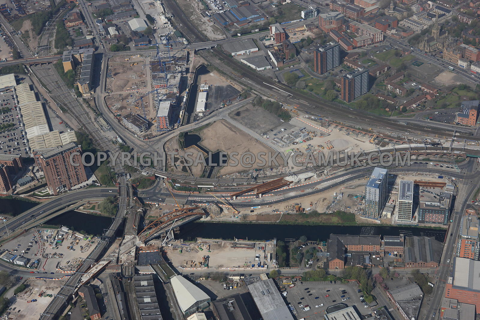 Manchester Crossing point of the river Irwell and the new Ordsall Chord Rail Link and the new developments taking place at Mi...