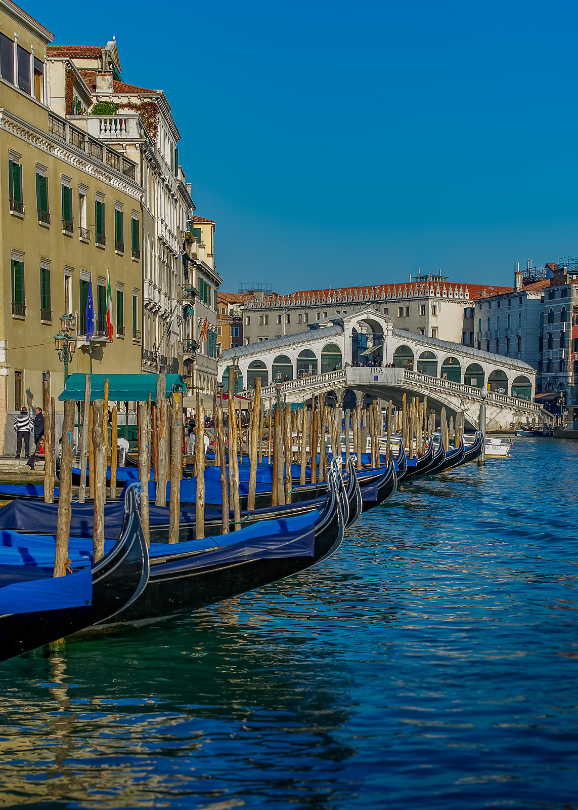 Gondolas Moored on the Grand Canal with the Rialto Bridge in the Backround, Venice