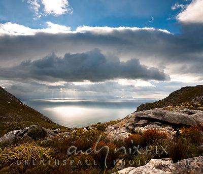 View of False Bay through a valley on a mountain, restios, rocks and fynbos in foreground, bright sunbeams shining through cl...