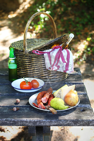 Picnic in the park with chorizo,cheese,fruit and wine