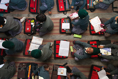 Top-down view of students at a school in Varanasi, India operated by Dutch NGO Duniya (duniya.org).