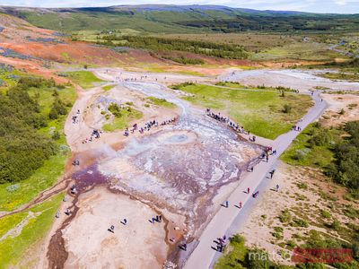 Aerial view of Geysir geothermal area, Iceland