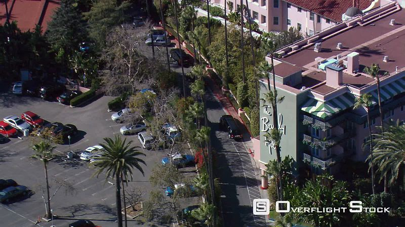 From close fly-by to wide view of Beverly Hills Hotel.