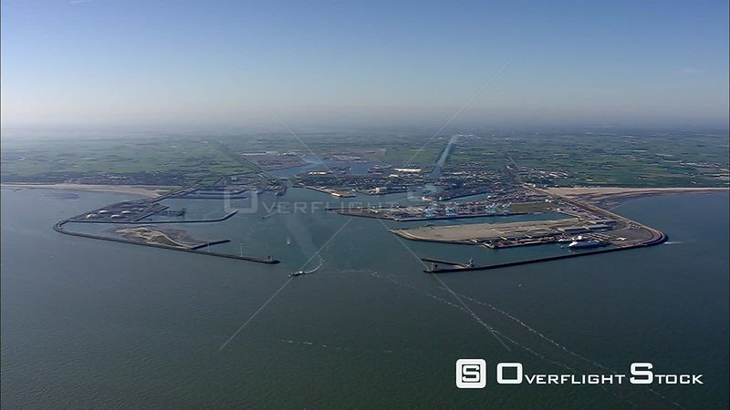 Wide view of a major North Sea port, looking inland