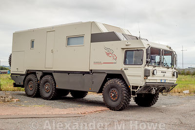 Bespoke expedition vehicle parked close to the Game of Thrones studio in Belfast.