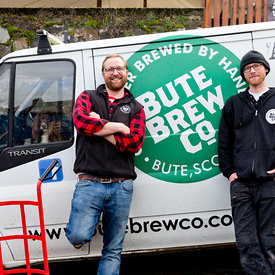 Bute Brew Co, Rothesay..24.4.18.Pictured at the Bute Brew Co are Aiden Canavan and Simon   plus spaniel Fergus...More info fr...