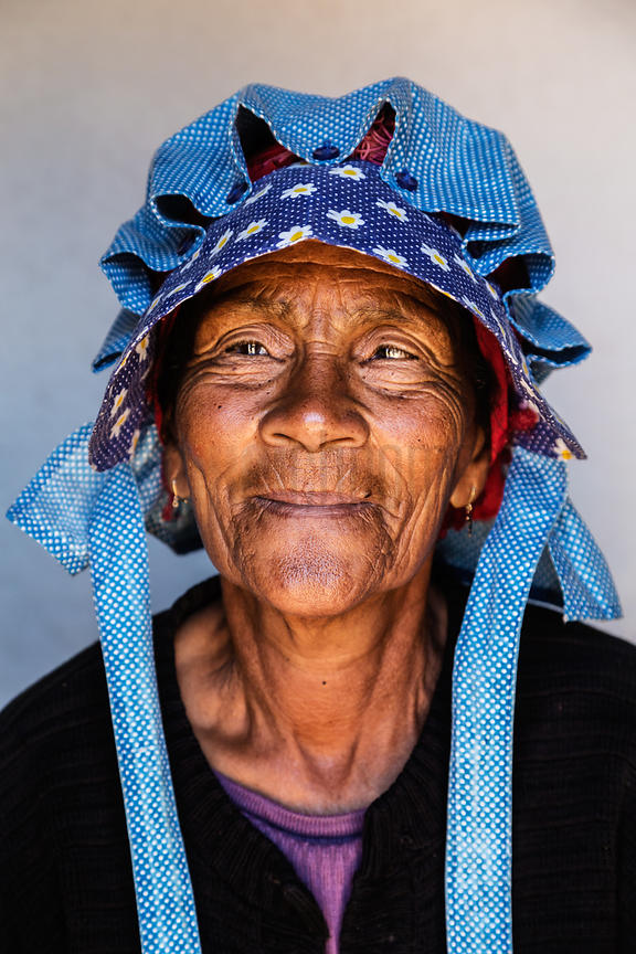 Rosina Beukes Wearing the Traditional Nama Kappie.