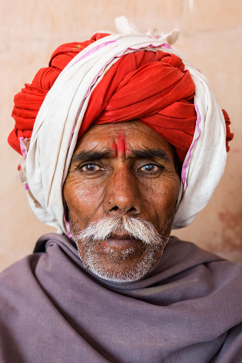 Portrait of a Man Wearing a Red Turban