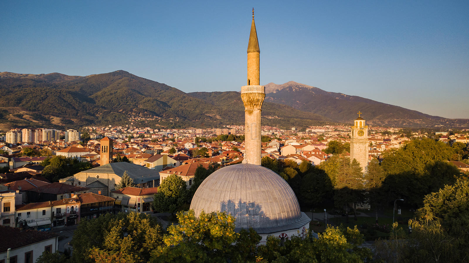 Elevated View of the Yeni Mosque and the Clock Tower at Sunrise