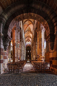 nave and narthex of Brioude romanesque basilica