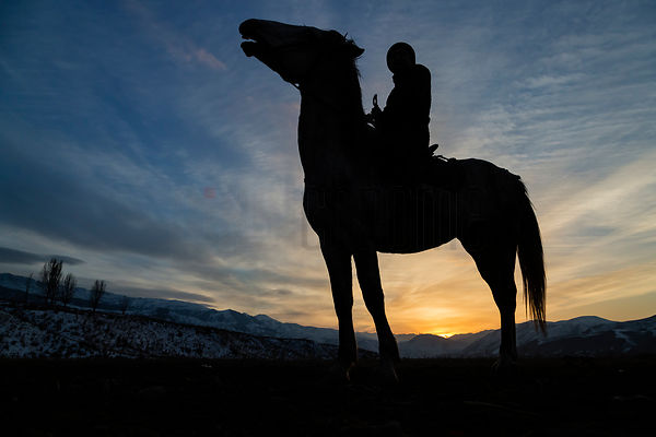 Silhouette of a Kyrgyz Horseman at Sunset