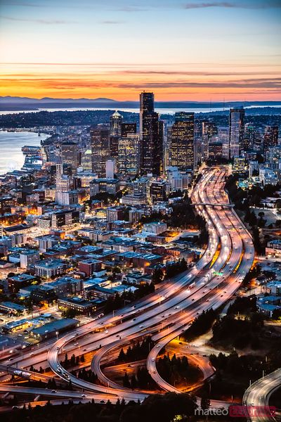 Aerial view of Seattle at dusk, USA