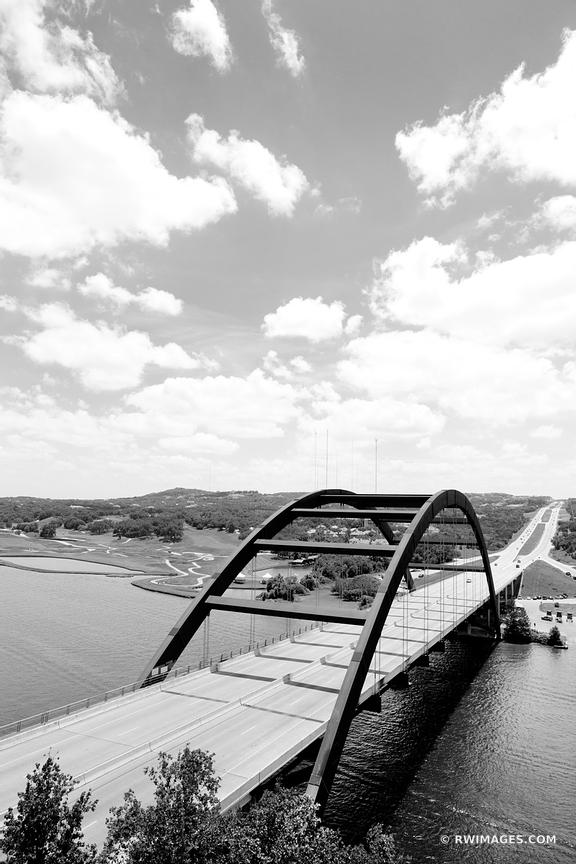 PENNYBACKER BRIDGE AUSTIN TEXAS BLACK AND WHITE VERTICAL